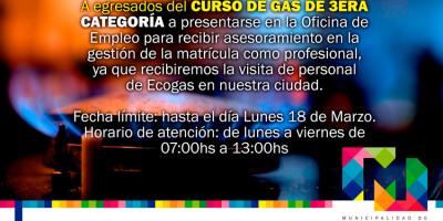 ¿SOS EGRESADO DEL CURSO DE GAS TERCERA CATEGORÍA?